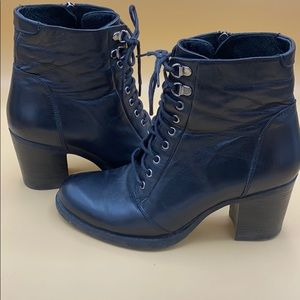 New Listing! blk heeled combat boots by ilo. 7